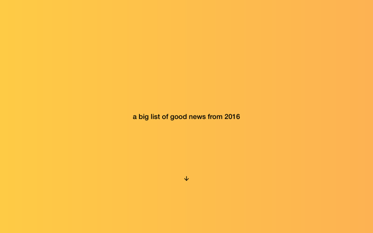 Screenshot of A big list of good news from 2016