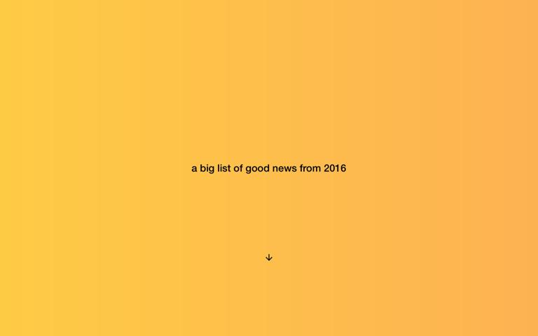 Screenshot of A big list of good news from 2016