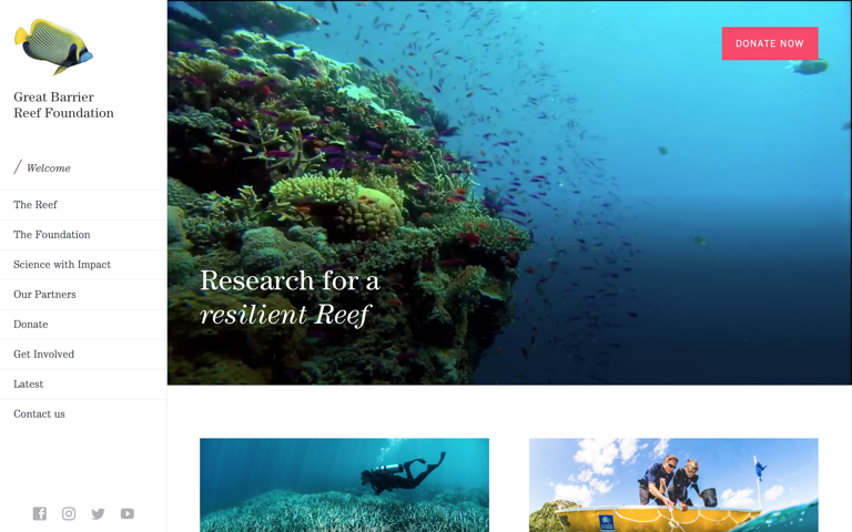 Screenshot of Great Barrier Reef Foundation