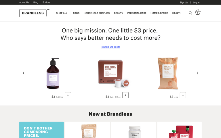 Screenshot of Brandless