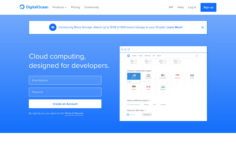 Screenshot of DigitalOcean