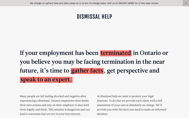 Screenshot of Dismissal help