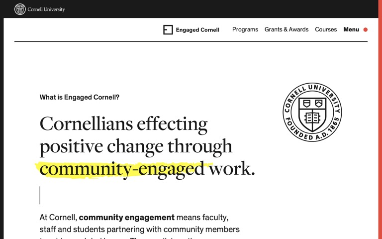 Screenshot of Engaged Cornell