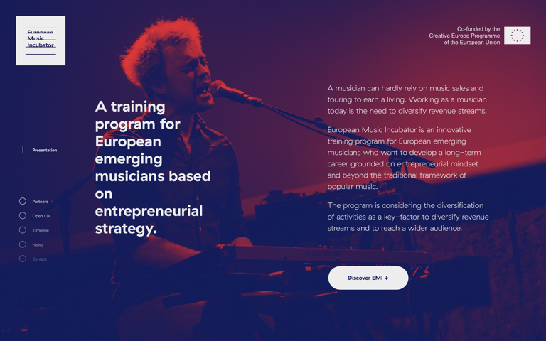 Screenshot of European Music Incubator