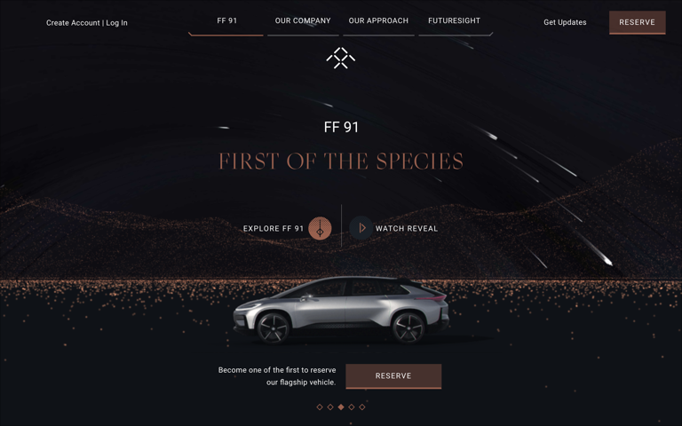 Screenshot of Faraday Future