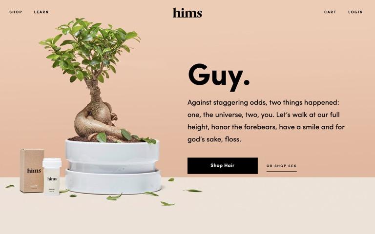 Screenshot of hims
