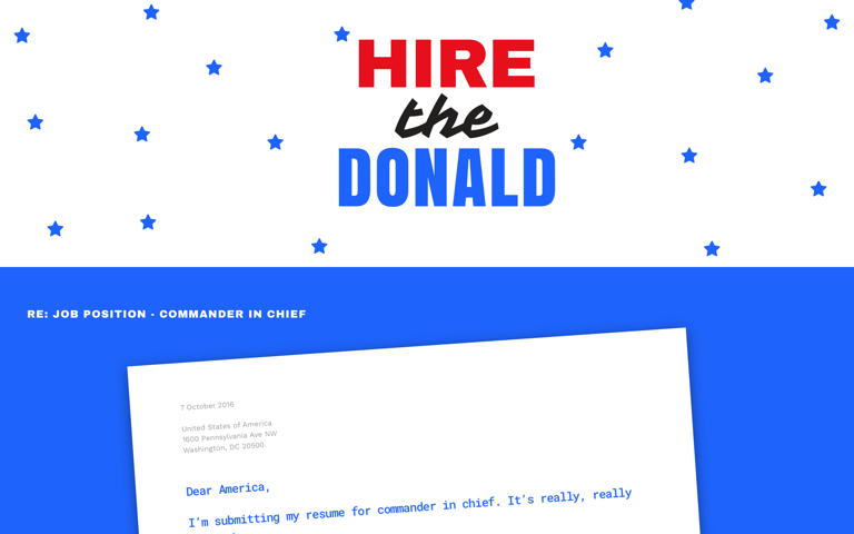 Screenshot of Hire The Donald