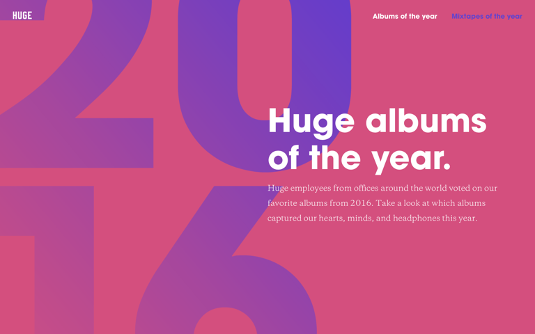 Screenshot of Huge albums of the year