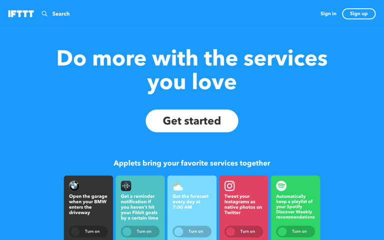 Screenshot of IFTTT