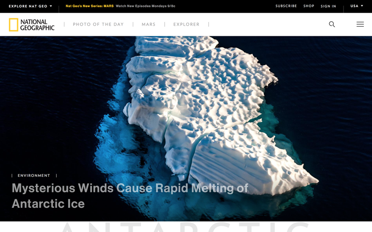 Screenshot of National Geographic