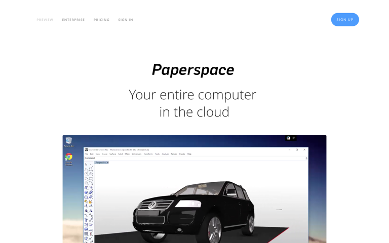 Screenshot of Paperspace