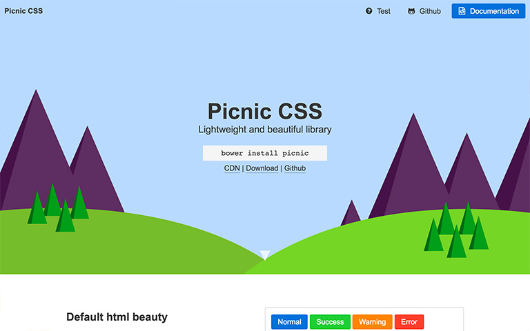Screenshot of Picnic CSS