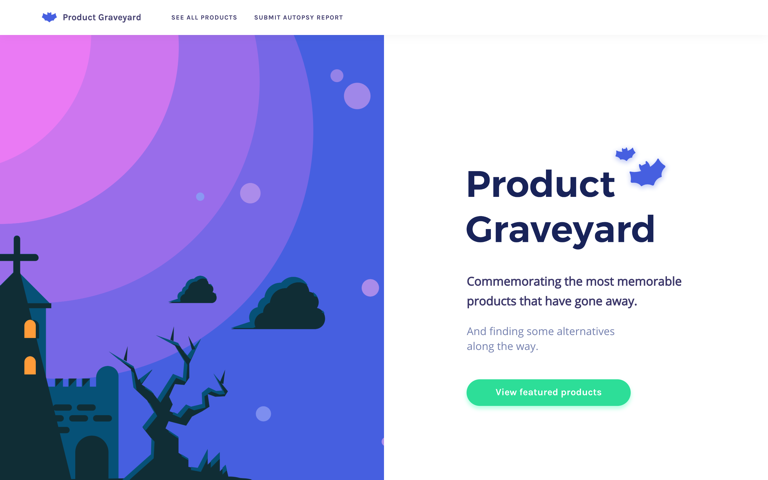 Screenshot of Product Graveyard
