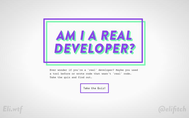 Screenshot of Am I a Real Developer?