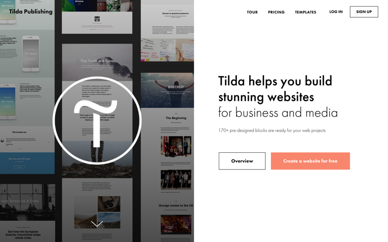 Screenshot of Tilda Publishing