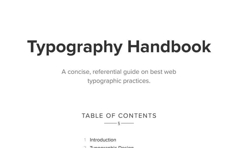 Screenshot of Typography Handbook