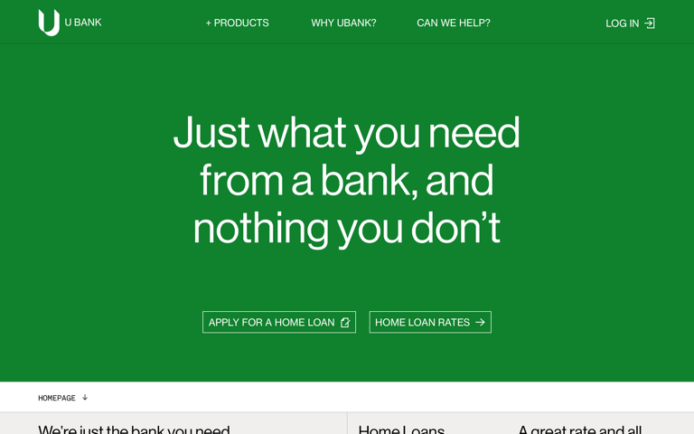 Screenshot of UBank
