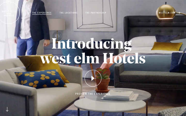 Screenshot of West Elm Hotels