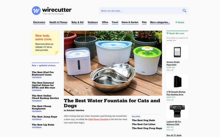 Screenshot of Wirecutter