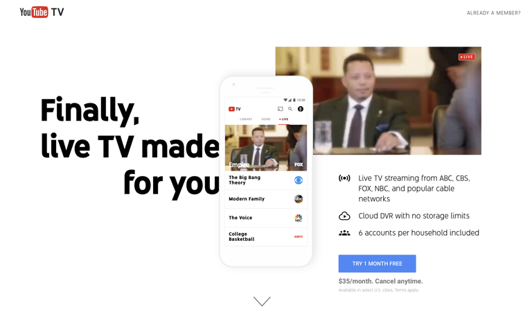 Screenshot of YouTube TV